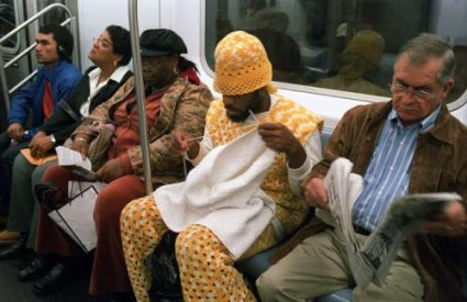 New York subway man crochets outfits