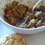stew and fluffy biscuit- yum!